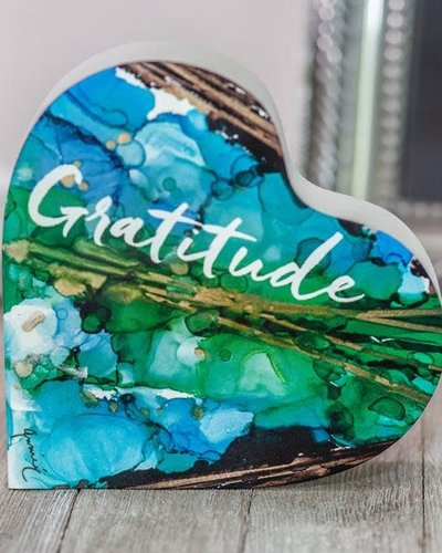 Abbey CA Gifts Give Thanks/Gratitude -2 Sided Heart Block