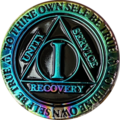 Recovery Chip AA Rainbow Plated Black Medallion - 1 Year
