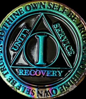AA Rainbow Plated Black Medallion - 1 Year