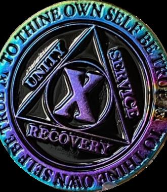 AA Rainbow Plated Black Medallion - 10 Year