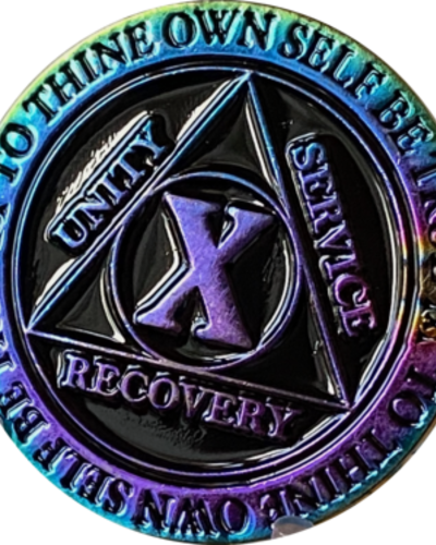 Recovery Chip AA Rainbow Plated Black Medallion - 10 Year
