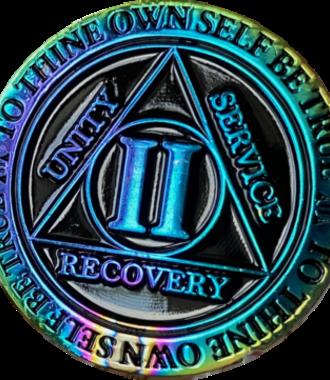 AA Rainbow Plated Black Medallion - 2 Year