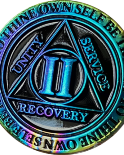 Recovery Chip AA Rainbow Plated Black Medallion - 2 Year