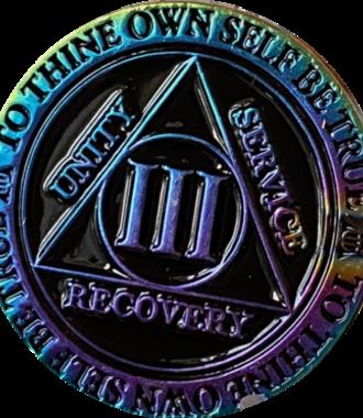 AA Rainbow Plated Black Medallion - 3 Year