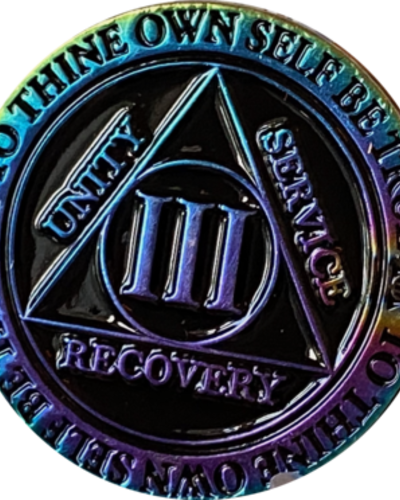 Recovery Chip AA Rainbow Plated Black Medallion - 3 Year