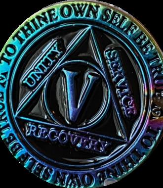 AA Rainbow Plated Black Medallion - 5 Year