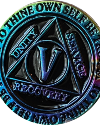 Recovery Chip AA Rainbow Plated Black Medallion - 5 Year