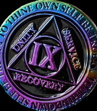 AA Rainbow Plated Black Medallion - 9 Year