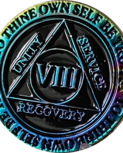 Recovery Chip AA Rainbow Plated Black Medallion - 8 Year