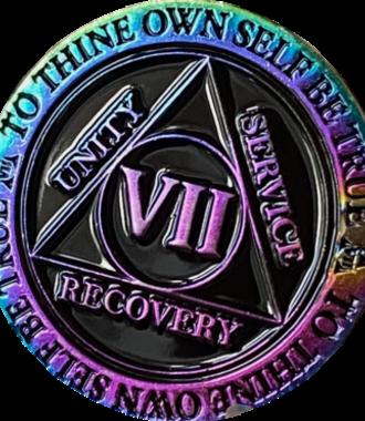 AA Rainbow Plated Black Medallion - 7 Year