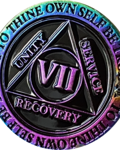 Recovery Chip AA Rainbow Plated Black Medallion - 7 Year