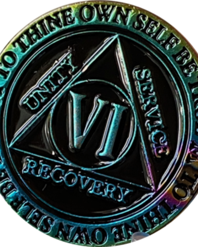 Recovery Chip AA Rainbow Plated Black Medallion - 6 Year