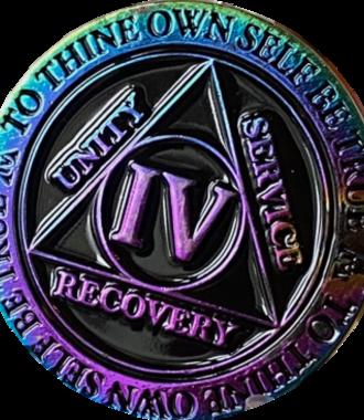 AA Rainbow Plated Black Medallion - 4 Year