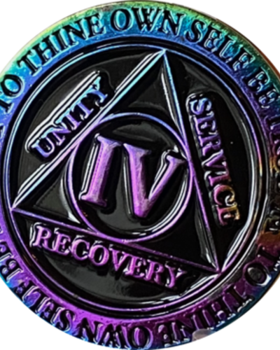 Recovery Chip AA Rainbow Plated Black Medallion - 4 Year