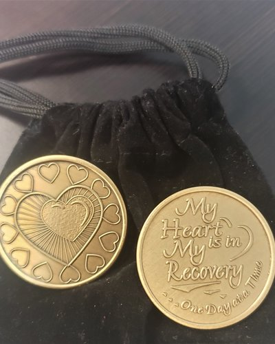 My Heart Is In My Recovery Gratitude Coin