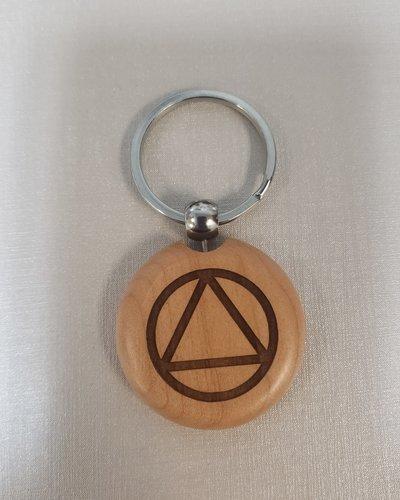 Wood AA Logo Key Ring