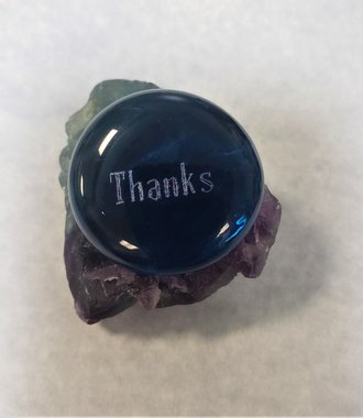 Glass Thumb Stone - Thanks