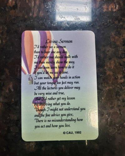Living Sermon Verse Card