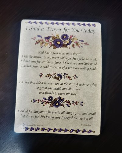 I Said A Prayer Verse Card