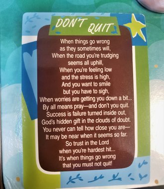 Don't Quit Verse Card