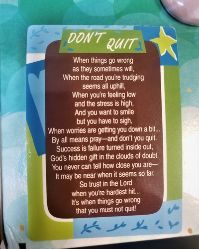 Don't Quit Verse Card  - 25 pack