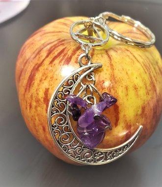 Amethyst Moon Key Ring