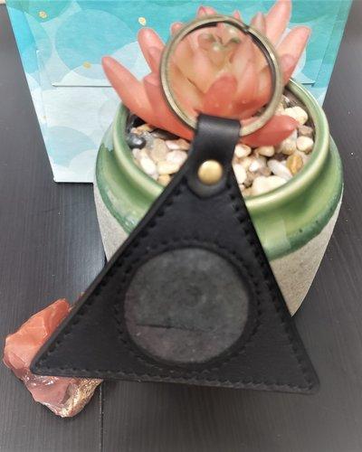 Triangle Leather Medallion Key Fob