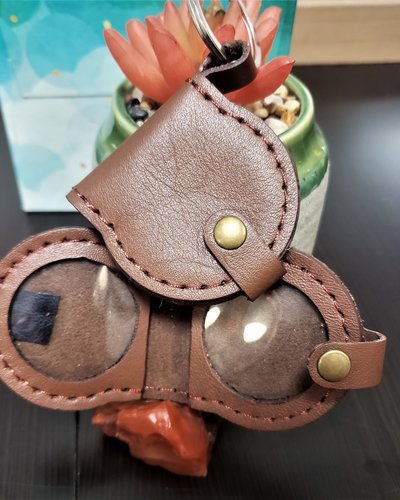 Folding Leather Medallion Key Fob- Brown