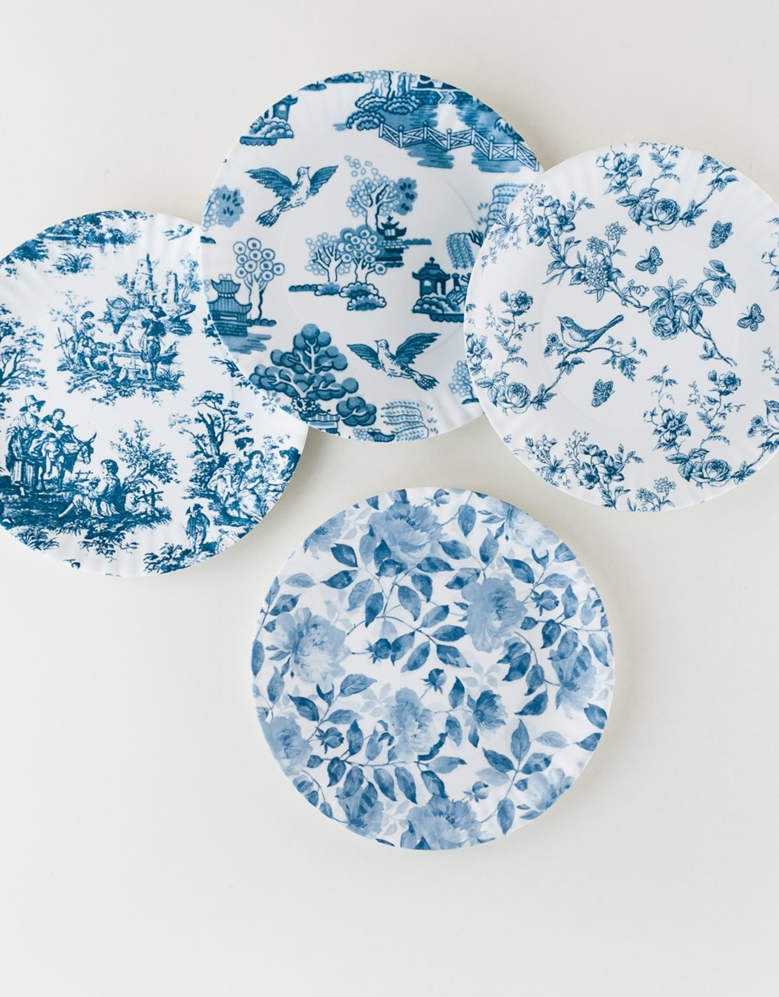 One Hundred 80 Degrees Melamine Blue & White Chinoiserie Plates S/4
