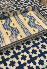 Habitat International Lacquered Blue Ikat Handpainted Tray