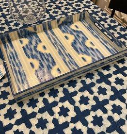 Habitat International Lacquered Blue Ikat Handpainted Tray