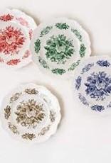 One Hundred 80 Degrees Melamine Plates Toile Multi Floral set of 4