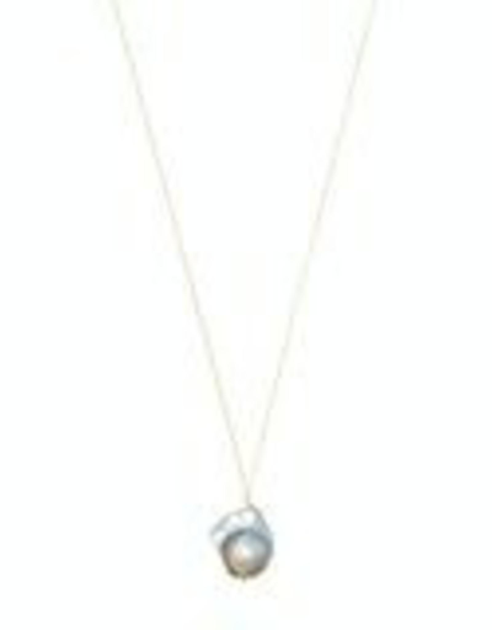 Machete Silver Baroque Pearl Necklace w/14K Chain