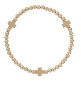 e.newton Signature Cross Matte Gold 4MM Bracelet