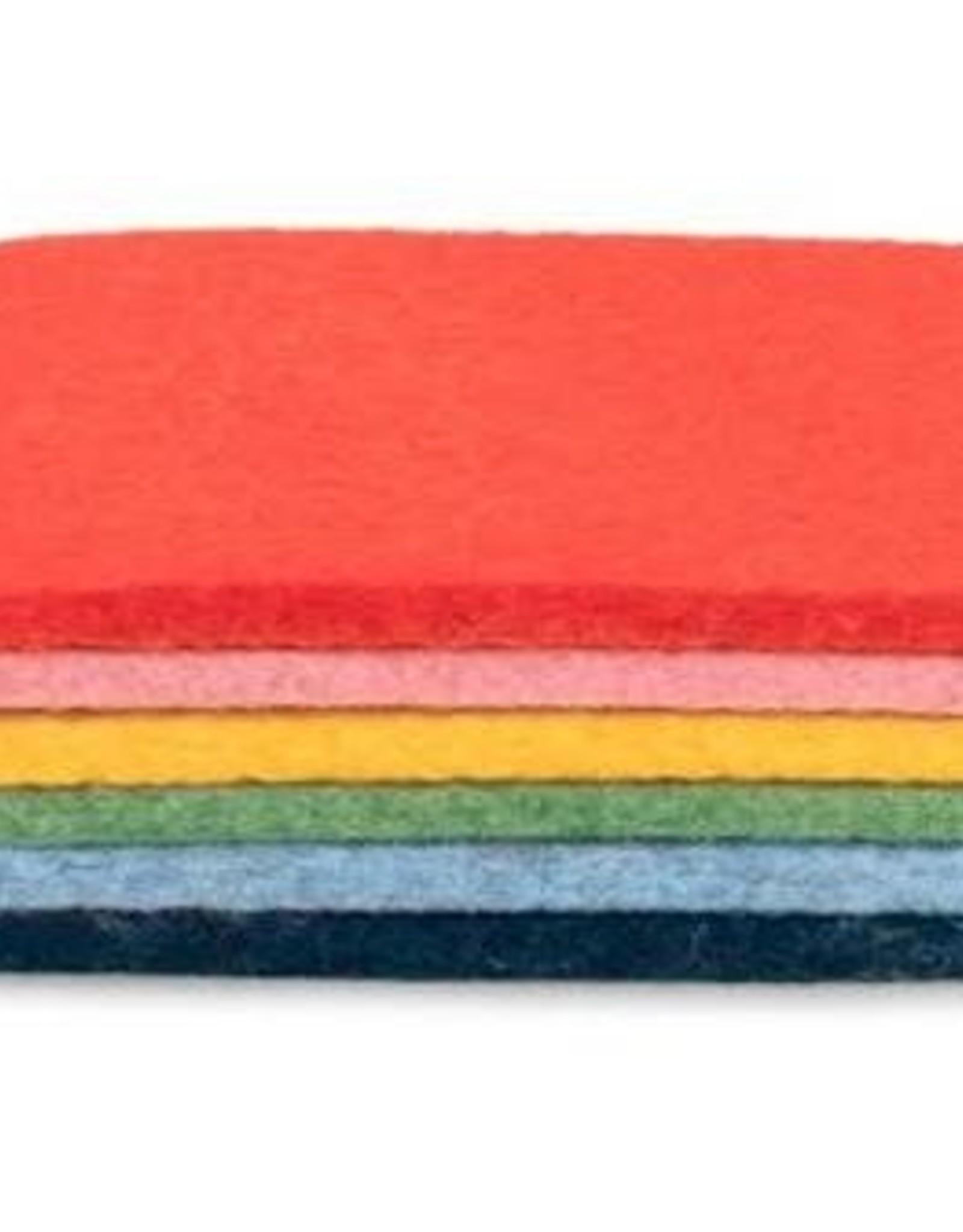 Graf Lantz Felt Coaster 6 Pack Rainbow