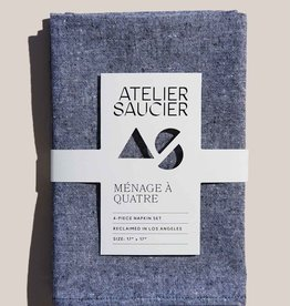 Atelier Saucier Charcoal Chambray Napkins S/4