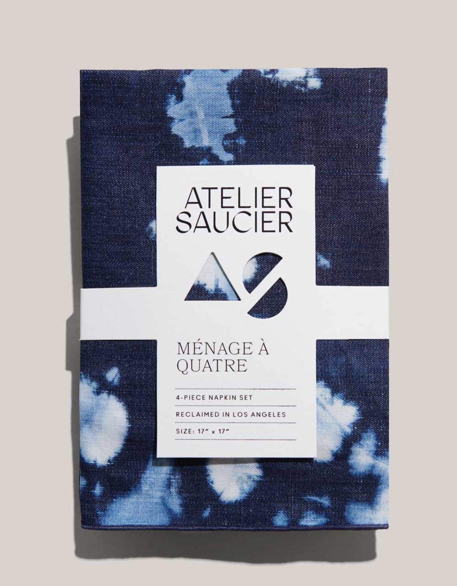 Atelier Saucier Tie Dye Denim Linen Napkin Set