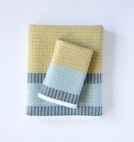 Mungo Cotton Diamond Hand Towel - Canary