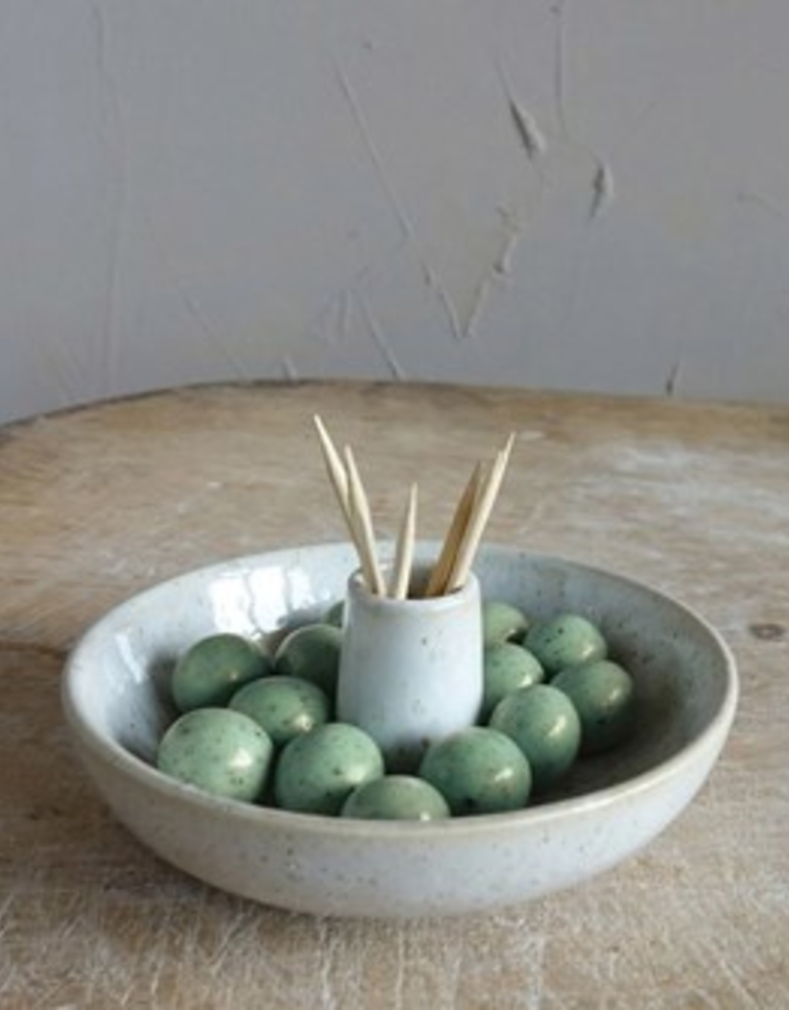 Creative Co-op Stoneware Toothpick/Olive Holder