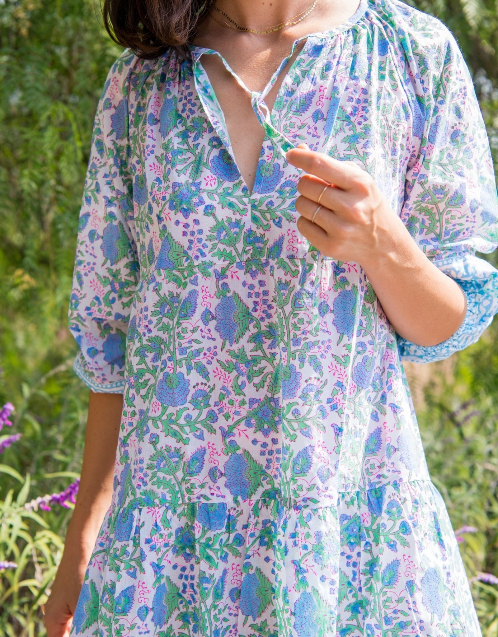 SZ Blockprints Priya Dress - Violet + Green