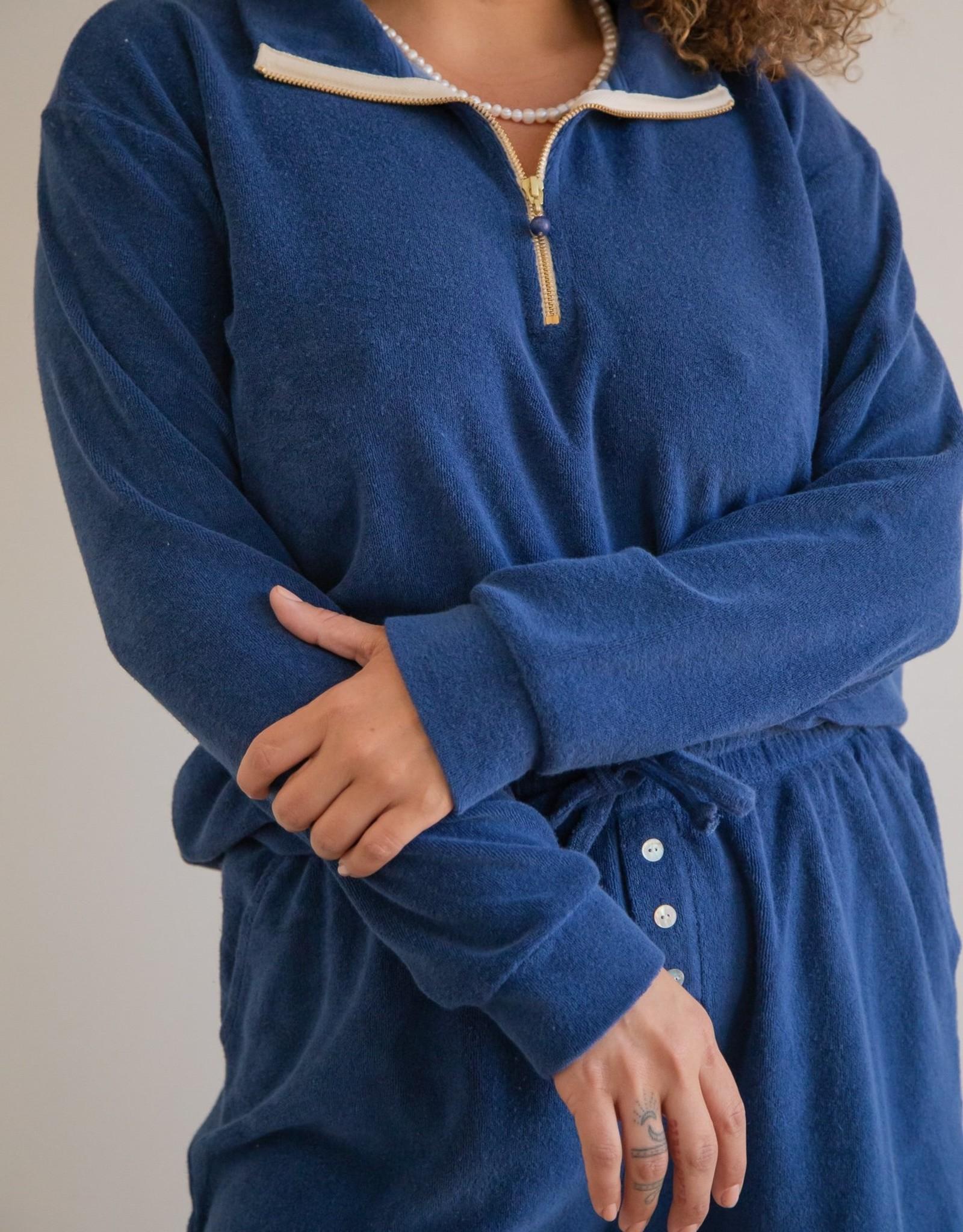 DONNI Navy Terry Half Zip Sweatshirt