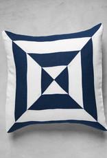 Lusitano Studio Linen + Blue Geo Pillow
