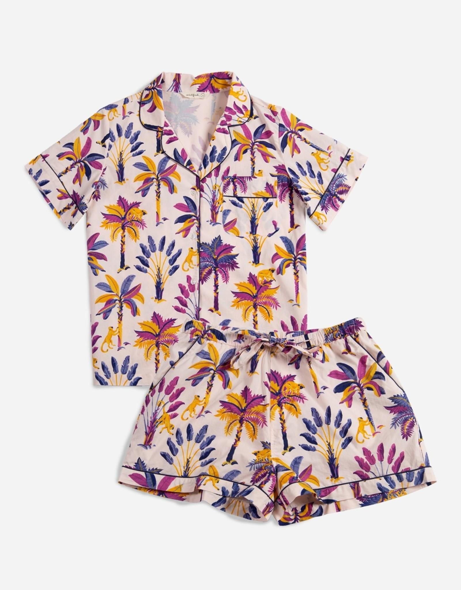 Print Fresh Royal Palms - Short Sleeve + Shorts Pajamas
