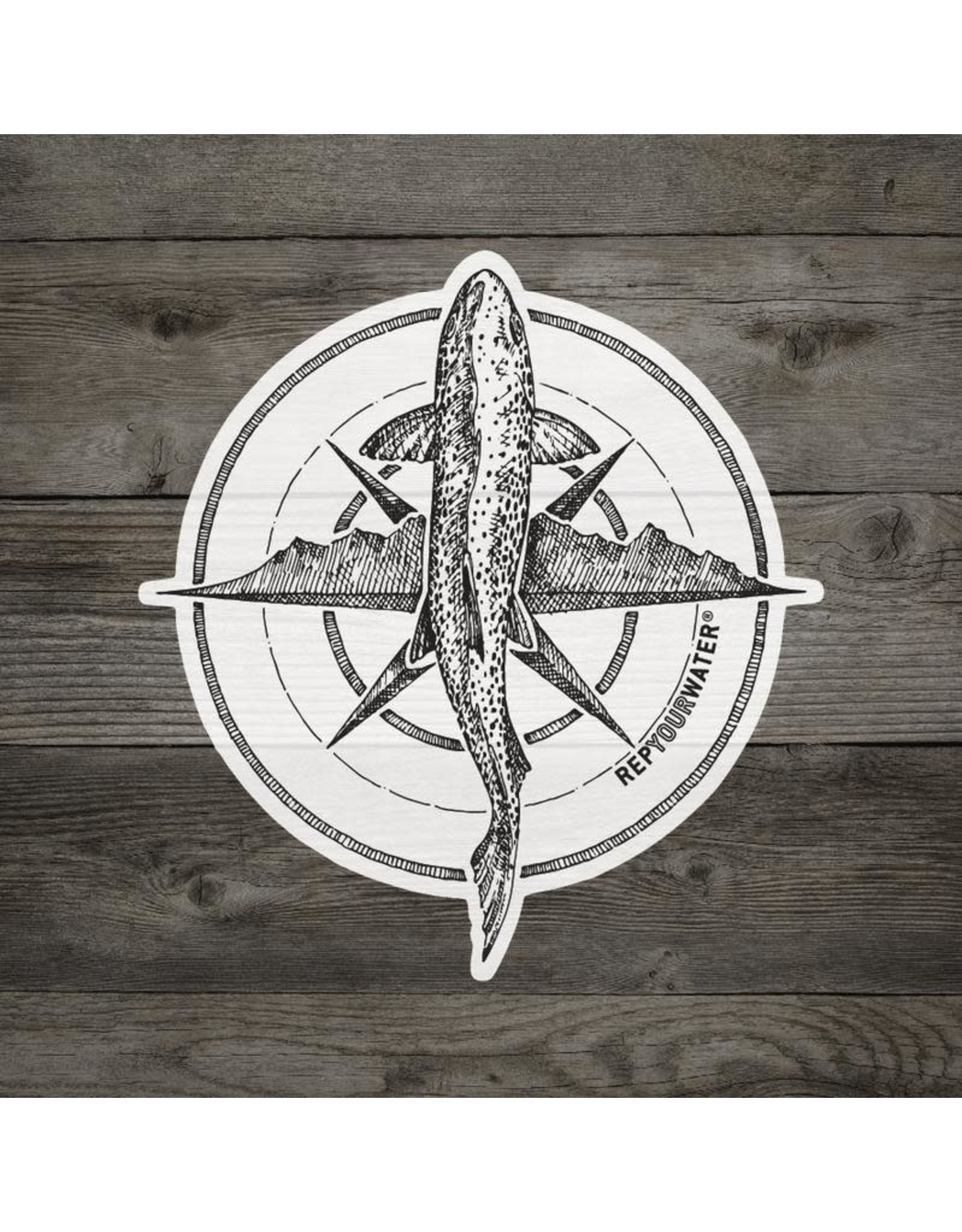 Rep Your Water Rep Your Water Compass Brown Trout Sticker