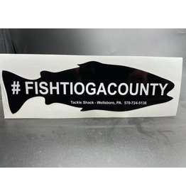 Tackle Shack #fishtiogacounty Large Black Sticker