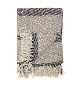 Charcoal Stripe Cotton Blend Knit Throw