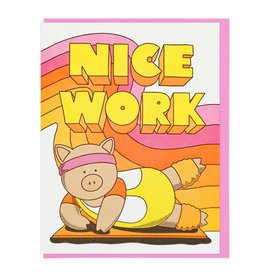 Lucky Horse Press Nice Work Aerobics Pig Card
