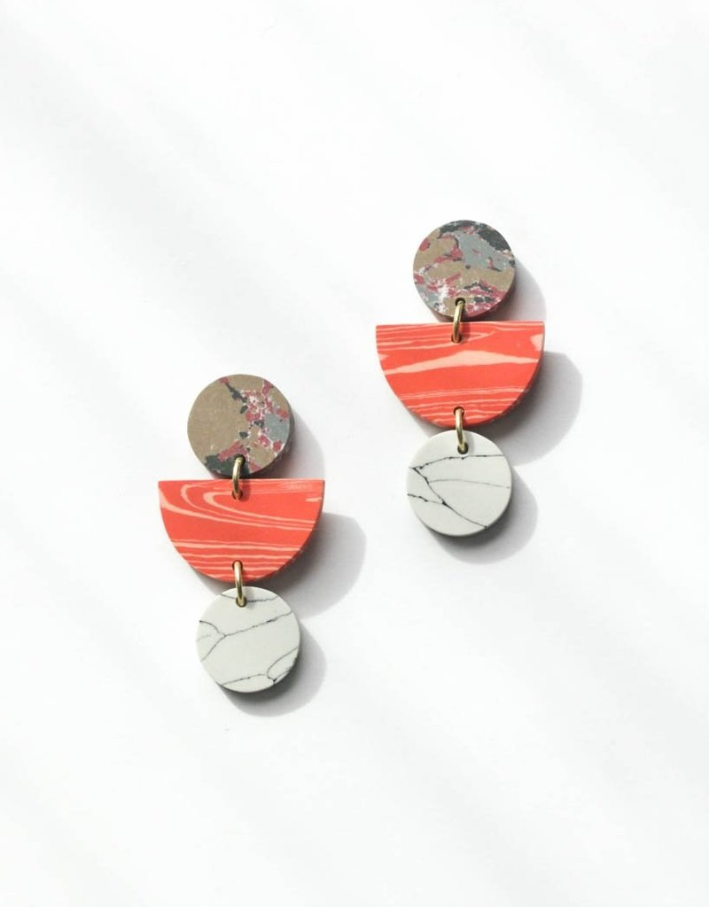 Rover & Kin Rover & Kin | Geo Clay Earrings in Peach