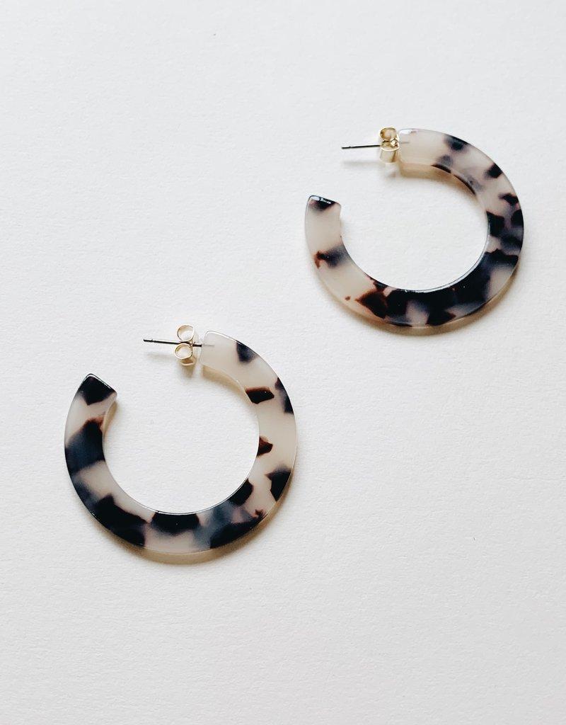 Dear Soho Dear Soho | Olivia Ivory Tortoise Flat Hoop Earrings