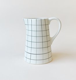 Black Grid Ceramic Pitcher